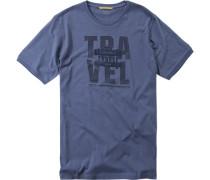 Herren T-Shirt Baumwolle jeansblau