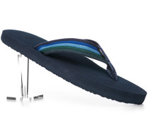 Herren Schuhe Zehensandalen Canvas blau-grün