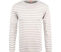 T-Shirt Longsleeve Baumwolle -sand gestreift