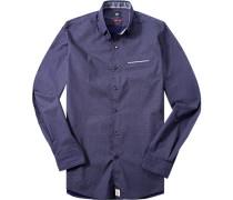 Herren Hemd Modern Fit Popeline königsblau-weiß gemustert