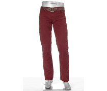 Herren Jeans Pipe Regular Slim Fit Baumwoll-Twill bordeaux