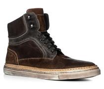 Herren Schuhe Stiefeletten Leder-Mix braun