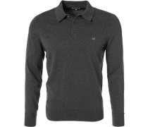 Herren Polo-Shirt, Baumwolle, grau meliert