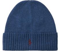 Herren Mütze, Merinowolle, blau meliert
