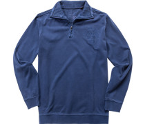 Herren Sweatshirt Baumwolle azurblau meliert