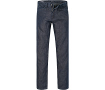Herren Jeans Regular Cut Baumwoll-Leinen-Mix indigo