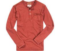 Herren T-Shirt Longsleeve Baumwoll-Jersey rost meliert