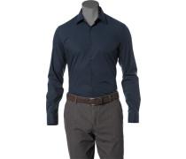 Herren Hemd Slim Fit Stretch-Popeline marineblau