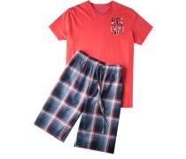 Herren Schlafanzug Pyjama Baumwolle-Modal orange-blau blau,rot