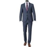 Herren Anzug, Regular Fit, Schurwolle, tiefseeblau meliert