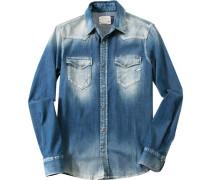 Herren Hemd Slim Fit Jeans blau