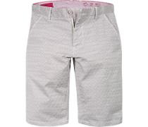 Herren Hose Shorts Baumwolle weiß-braun gemustert