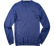 Herren Pullover Schurwoll-Mix königsblau blau,blau