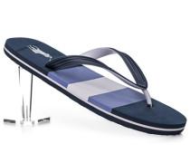 Herren Schuhe Zehensandalen, PVC, marine-flieder gestreift blau