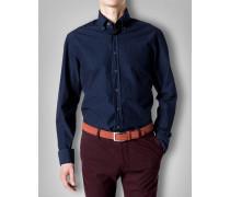 Herren Hemd Baumwolle blau gemustert