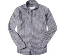 Herren Hemd Shaped Fit Strukturgewebe violett-weiß gemustert