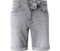 Jeansshorts, Tapered Fit, Baumwoll-Stretch, hell