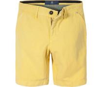 Herren Hose Bermudas, Leinen-Baumwolle, gelb