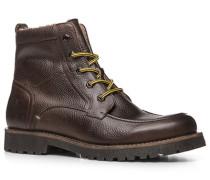 Herren Schuhe Schnür-Stiefel Kalbleder warm gefüttert dunkelbraun braun,beige