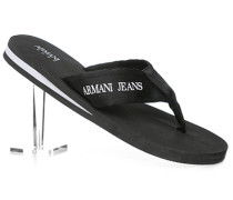 Herren Schuhe Zehensandalen, Textil, schwarz