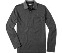 Herren Polo-Shirt Slim Fit Baumwoll-Jersey grau gestreift