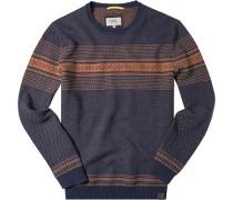 Herren Pullover Baumwolle dunkelblau-orange gemustert blau,blau