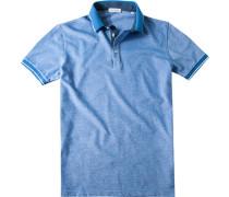 Herren Polo-Shirt Slim Fit Baumwoll-Piqué jeansblau meliert