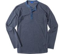 Herren Langarm-Shirt Baumwoll-Mix anthrazit meliert grau