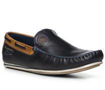 Herren Schuhe Mokassin, Leder, blau