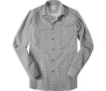 Hemd Modern Fit Popeline khaki gemustert