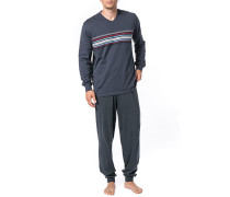 Herren Schlafanzug Pyjama Baumwolle anthrazit gestreift grau