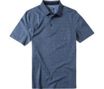 Herren Polo-Shirt merzerisierte Baumwolle navy gestreift blau