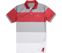 Herren Polo-Shirt, Microfaser Drycomfort®, rot-grau gestreift