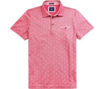 Herren Polo-Shirt, Modern Fit, Baumwoll-Pique, rot gemustert