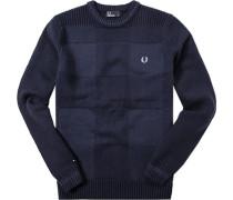 Herren Pullover Wolle-Baumwolle navy meliert