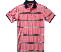 Herren Polo-Shirt Baumwoll-Piqué rot-weiß gestreift