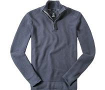Herren Pullover Troyer Baumwolle blau