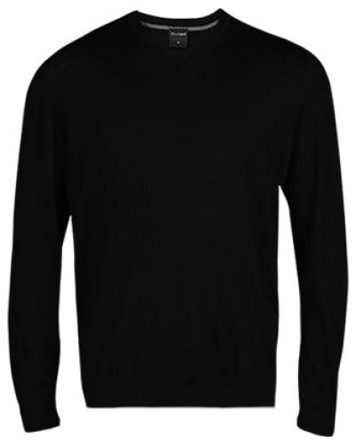 Herren Pullover, Modern Fit, Merinowolle, schwarz