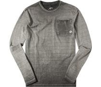 Herren T-Shirt Longsleeve Slim Fit Baumwolle grau