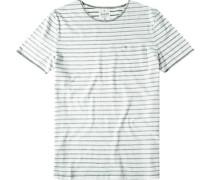 Herren T-Shirt Modern Fit Baumwolle khaki gestreift weiß