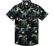 Herren Hemd Modern Fit Popeline schwarz gemustert