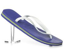 Herren Schuhe Zehensandalen, Gummi, weiß-azurblau