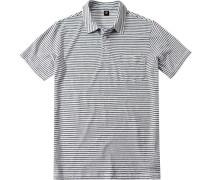 Herren Polo-Shirt Regular Fit Baumwoll-Leinen-Mix -schwarz gestreift