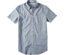 Herren Hemd Regular Fit Baumwolle blau-kariert
