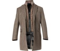 Herren Mantel Wolle braun gemustert