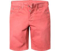 Herren Jeans Shorts Slim Fit Baumwoll-Stretch ziegelrot