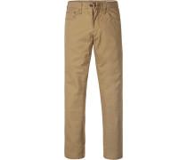 Herren Jeans Straight Fit Baumwoll-Stretch greige
