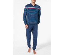 Herren Schlafanzug Pyjama Baumwolle navy-multicolor gestreift blau