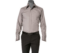 Herren Hemd Slim Fit Popeline-Stretch taupe grau