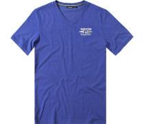 Herren T-Shirt, Baumwolle, royal meliert blau